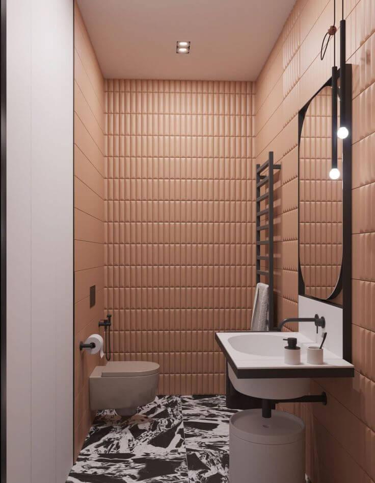 Декорированная персиковая ванная