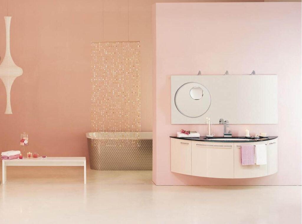 Дизайнерская ванная персикового цвета
