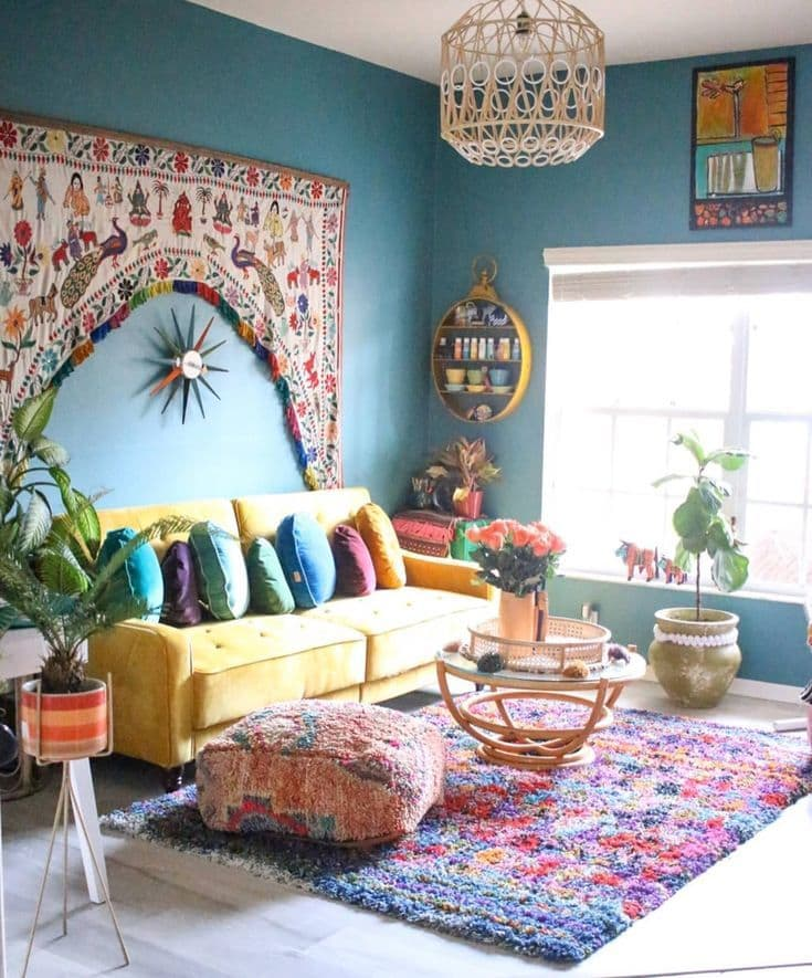 бирюзовая спальня в квартире