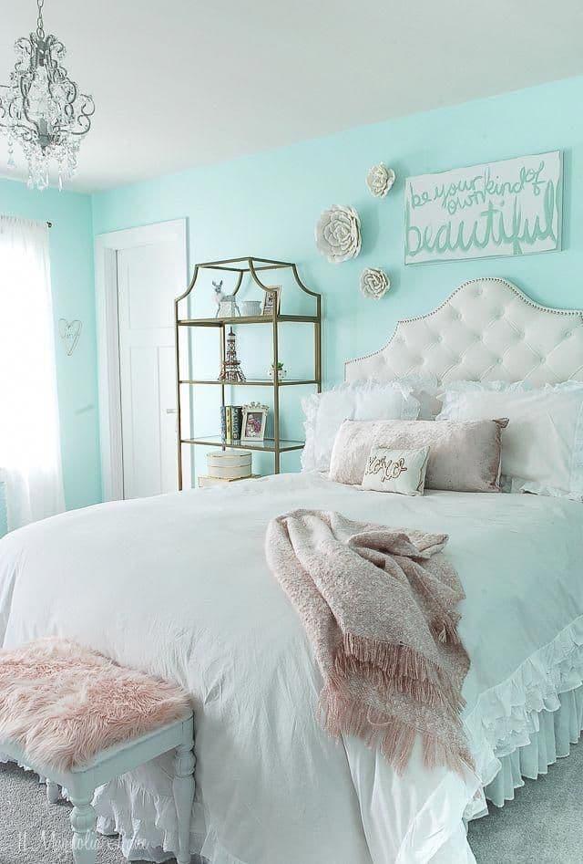 интерьер бирюзовой спальни
