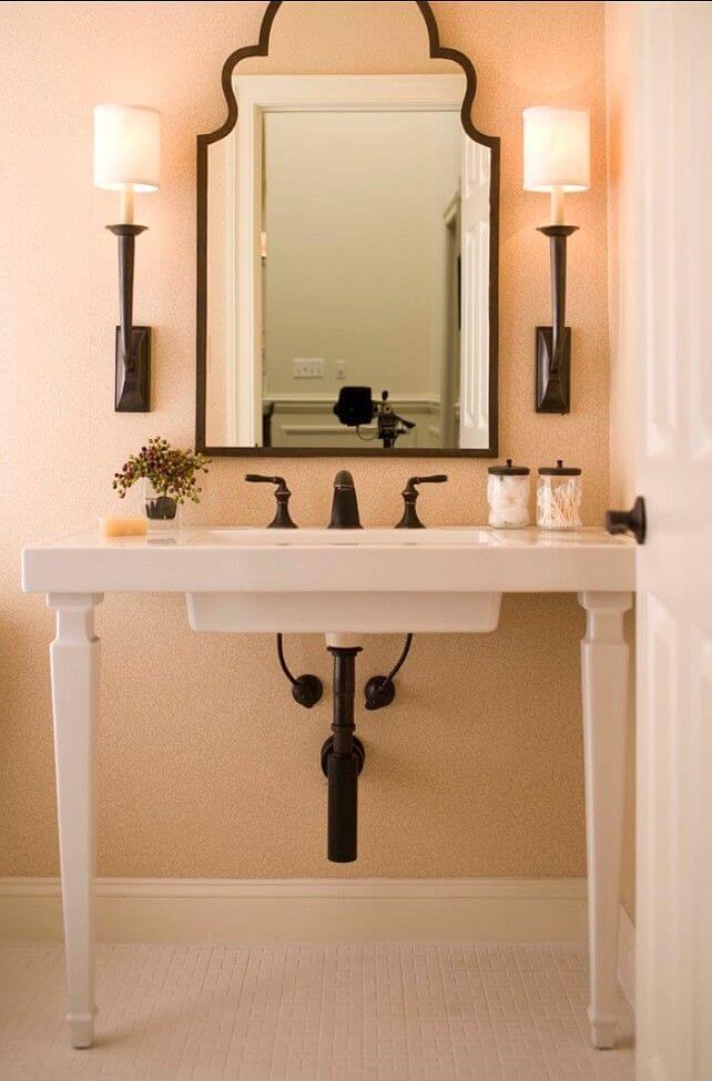 Интересный интерьер персиковой ванноой