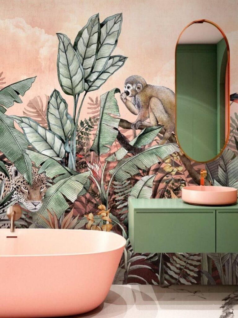 Персиковая ванная с росписью