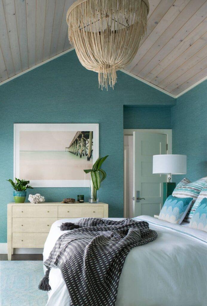 бирюзовая спальня в однокомнатной квартире