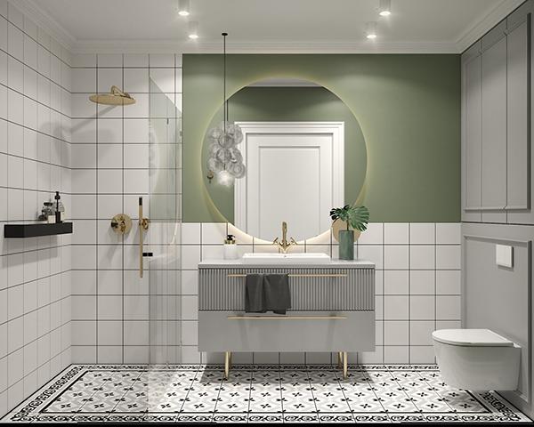 фисташковая ванная в трехкомнатной квартире